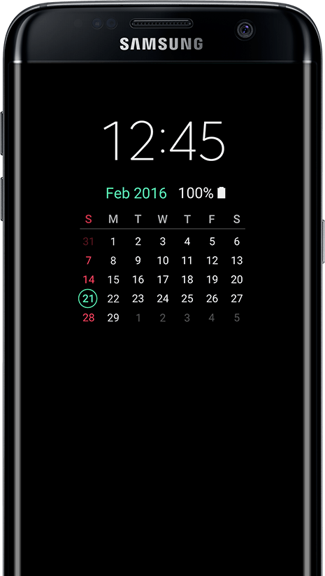 AOD de type Calendrier sur galaxy s7 edge screen