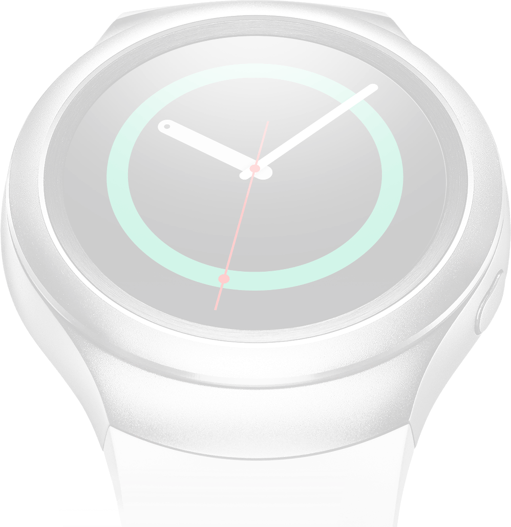 Dimmed image of silver Gear S2 on left