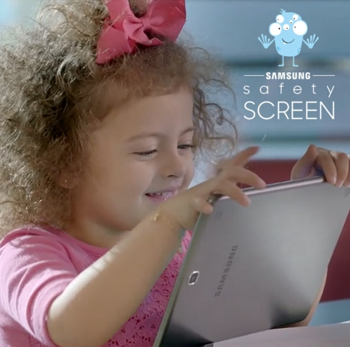 Samsung safety screen helps remind children to keep the devices away from their eyes