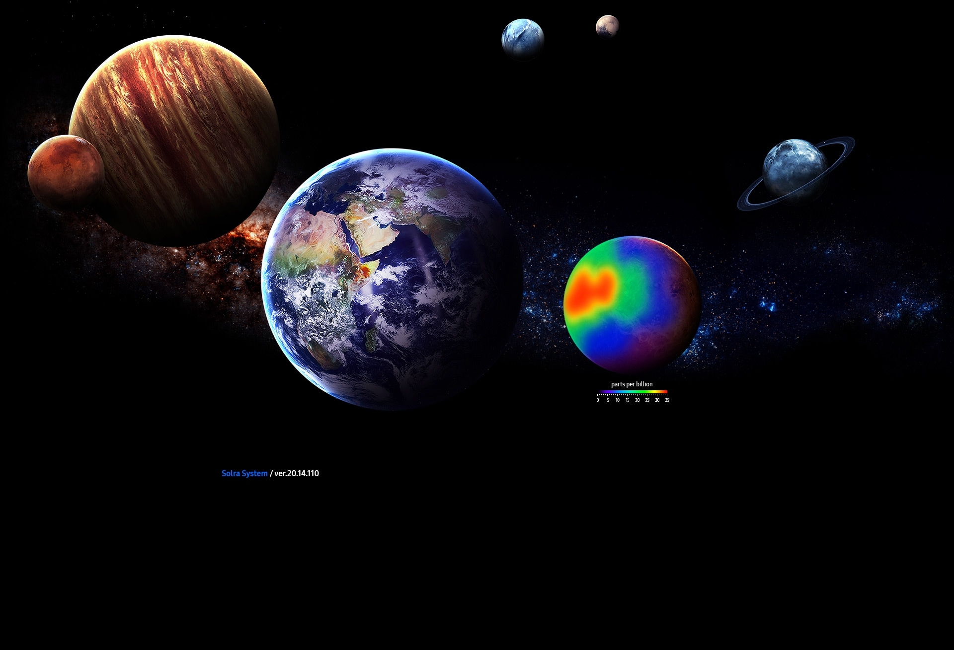 An image of a user's hands holding a black Galaxy Book 10.6 device, with its screen showing several planets in space.