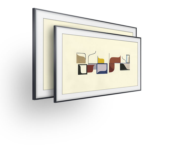 The Frame in basic gray metal bezels. One is 65 inches, the other is 55 inches and are standing upright and are shown from the left.