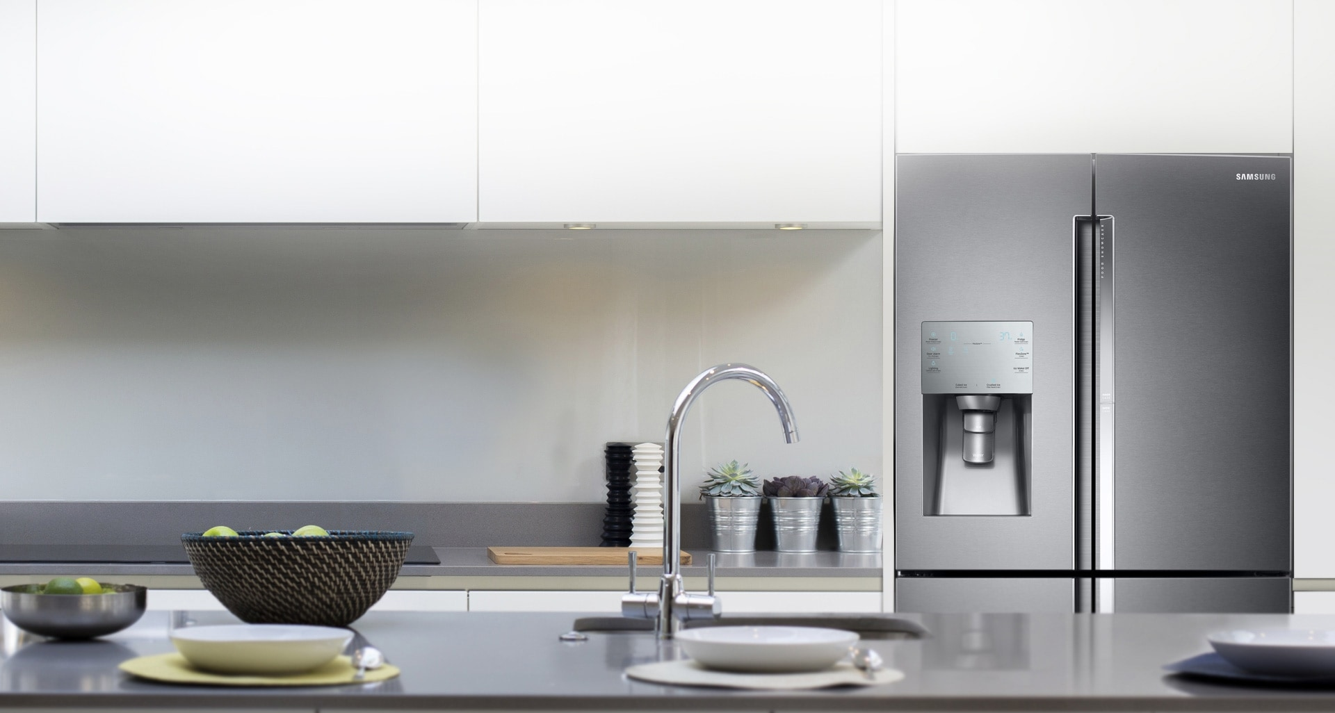 An image showing how the Samsung T9000 Refrigerator perfectly fits into a kitchen interior.