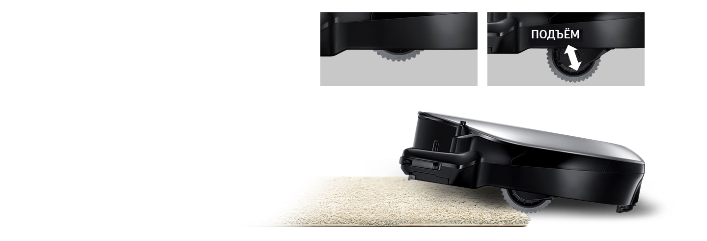 An image of a POWERbot VR7000 device lifting up a carpet using its Easy Pass™ feature. Above it, two magnified images of its wheels are visible, with one in regular mode and the other in lift-up mode.